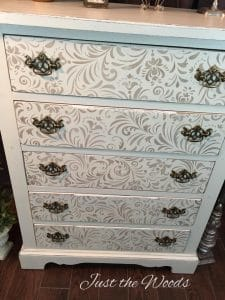 stenciled dresser, shabby chic dresser, painted dresser, just the woods