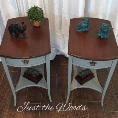 Painted Mahogany Tables with Stain Tops