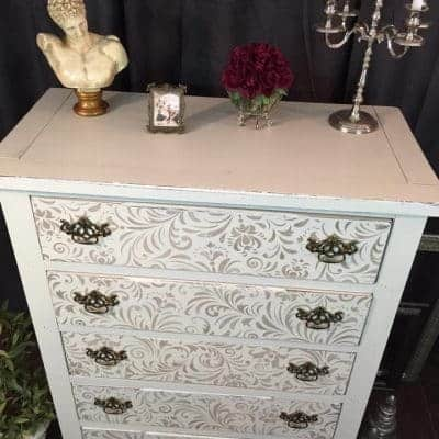 Where Shabby Meets Chic Stenciled Dresser