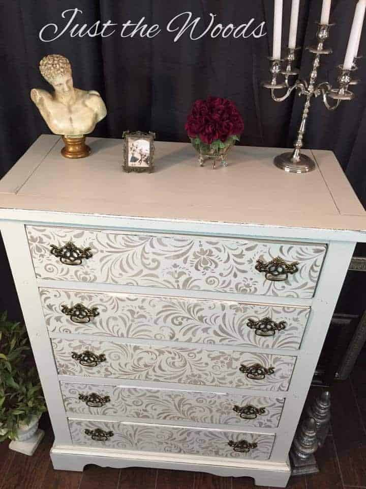 How to Get an Elegant Painted Shabby Chic Stenciled Dresser
