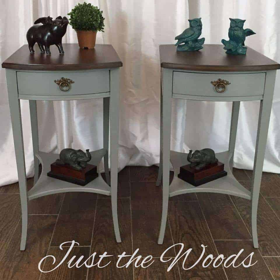 chalk paint, gray paint, painted tables, vintage, antique, wood grain
