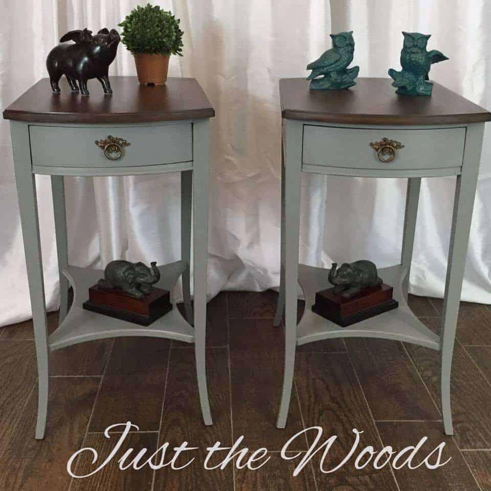 chalk paint, gray paint, painted tables, vintage, antique, wood grain