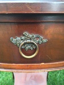 Mahogany tables, vintage hardware, original hardware