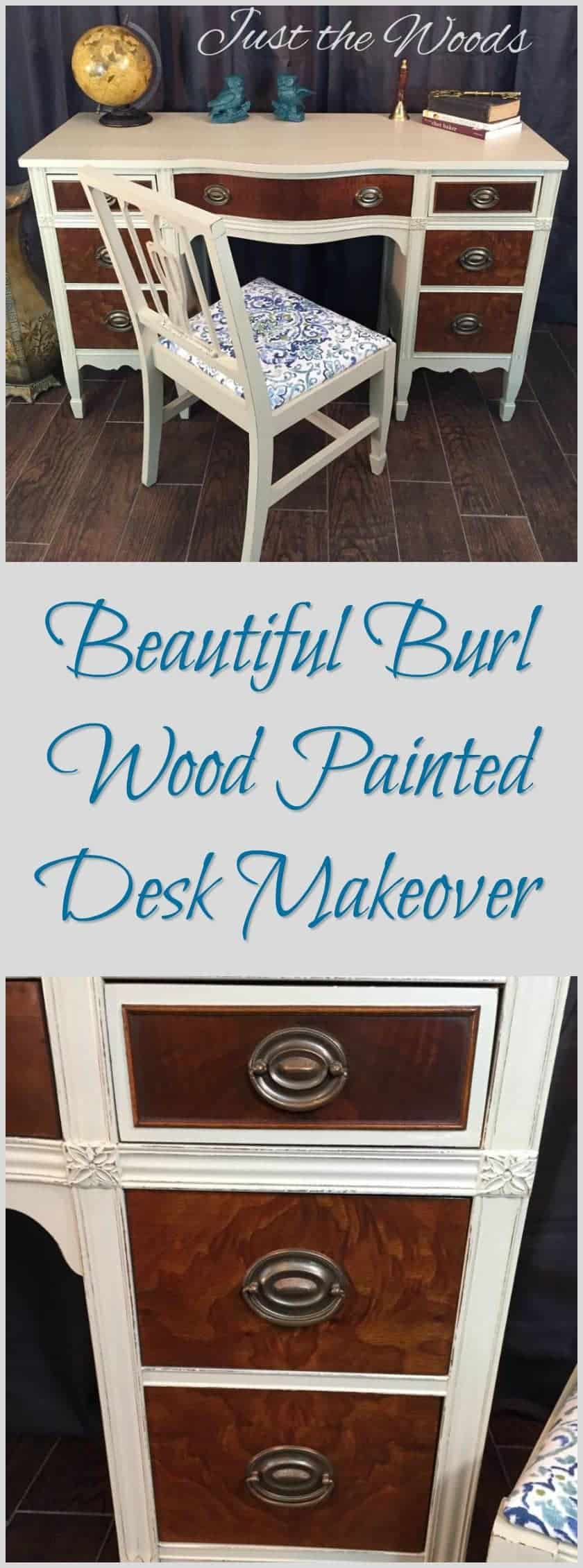 Vintage desk makeover. A painted desk with beautiful burl wood. Burled wood drawers preserved on a refinished desk. A balance of paint and burl furniture.