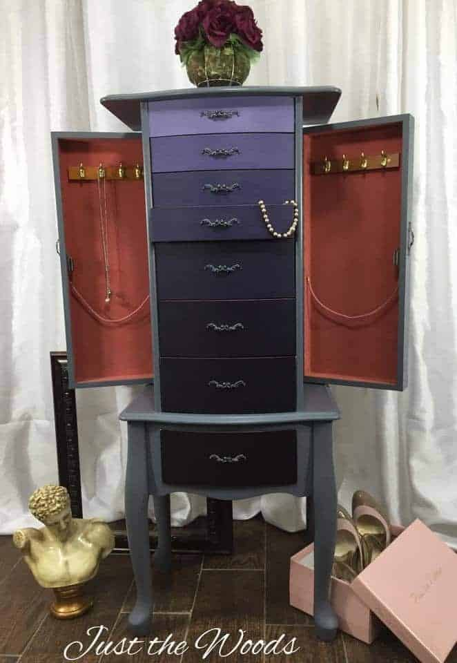 Ombre Painted Jewelry Armoire by Just the Woods