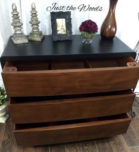 Masculine, Black and Wood Grain Painted Dresser by Just the Woods