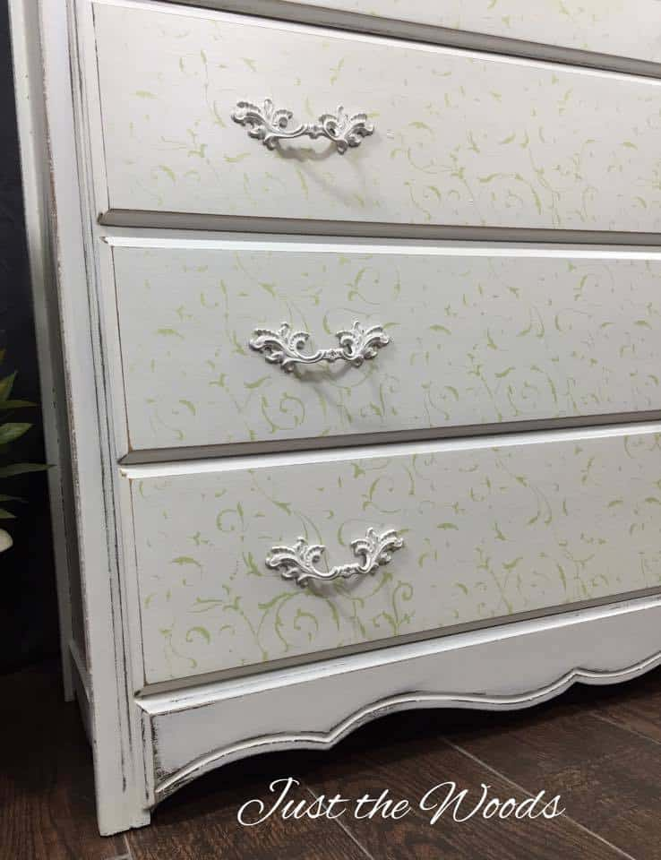 painted hardware, cottage chic, stencil dresser, cottage chic style dresser, painted dresser, white painted dresser
