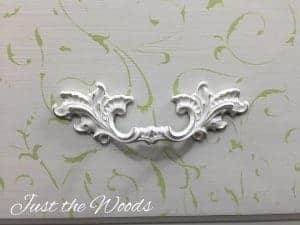 cottage chic, lily scroll, cutting edge stencil, cottage chic painted dresser, cottage chic style, cottage chic furniture, painted hardware