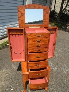 jewelry armoire, brownjewelry armoire, standing jewelry chest