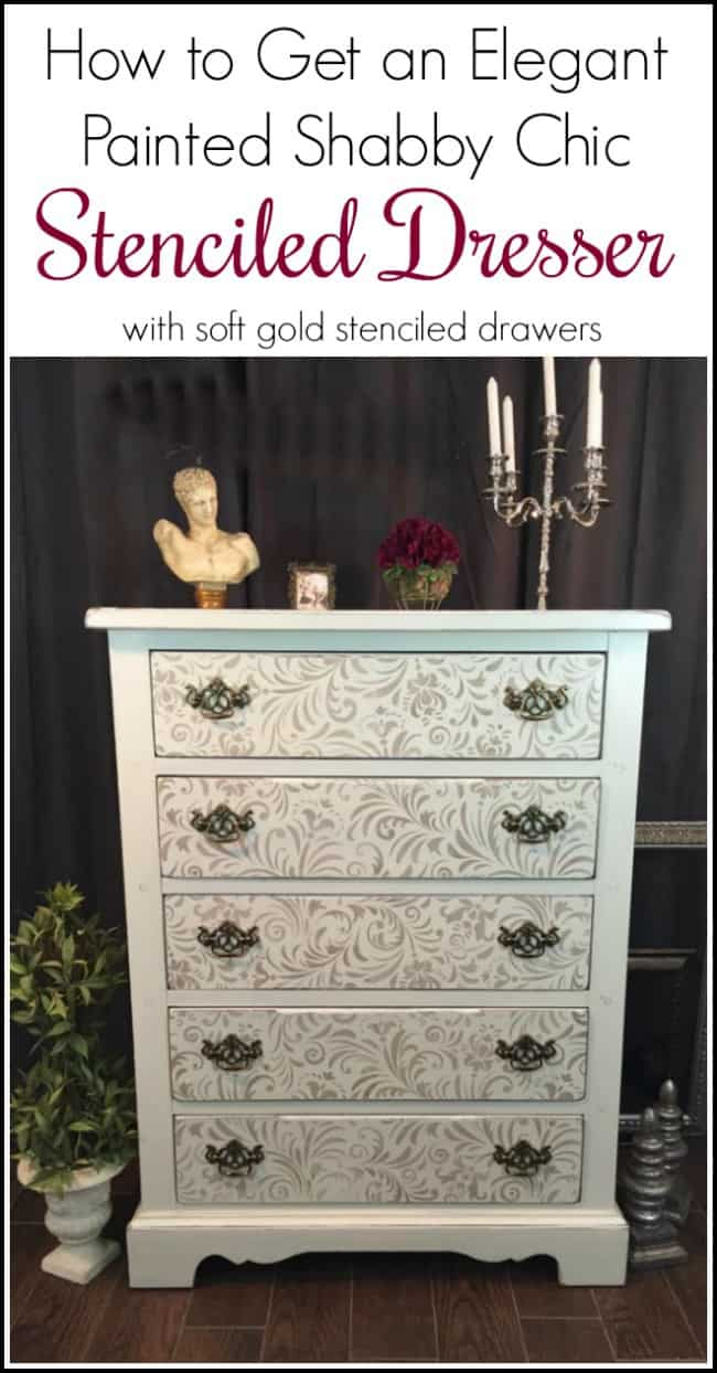 How to Get an Elegant Painted Shabby Chic Stenciled Dresser from a boring brown vintage chunky dresser. Add an elegant gold stencil to a painted dresser