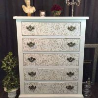 Painted Shabby Chic Stenciled Dresser