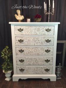 shabby-chic-stenciled-dresser, painted dresser