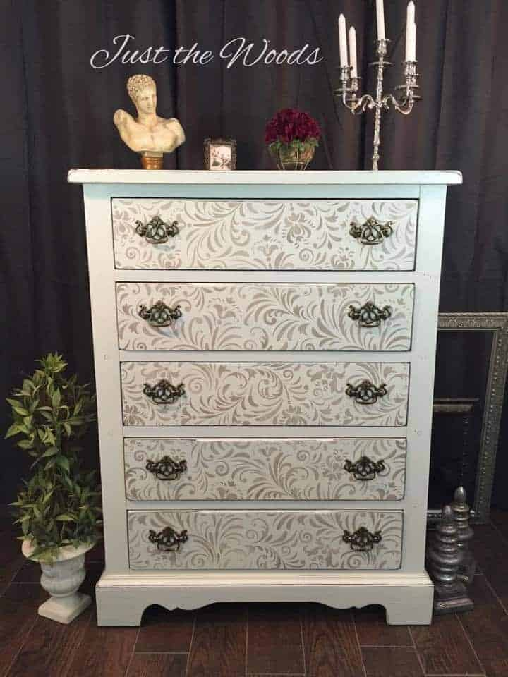 Stenciled Shabby Chic Painted Dresser Ideas With Stencil Furniture Makeover