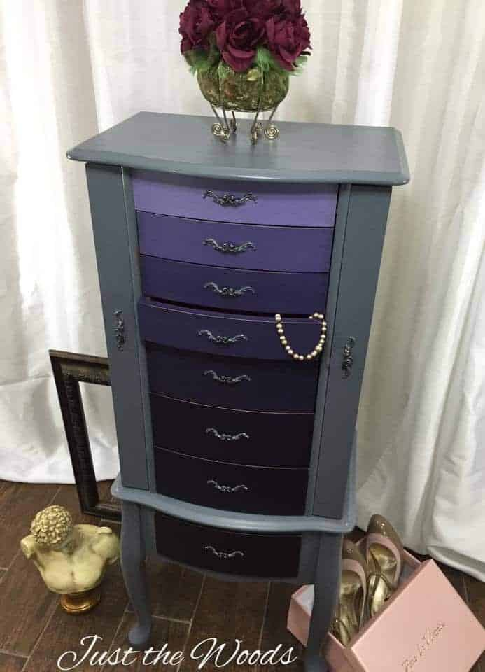 ombre Painted Jewelry Armoire, ombre painting technique, how to ombre paint, how to paint ombre