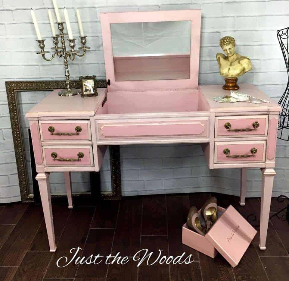 Painted vintage vanity, pink vanity, staten island