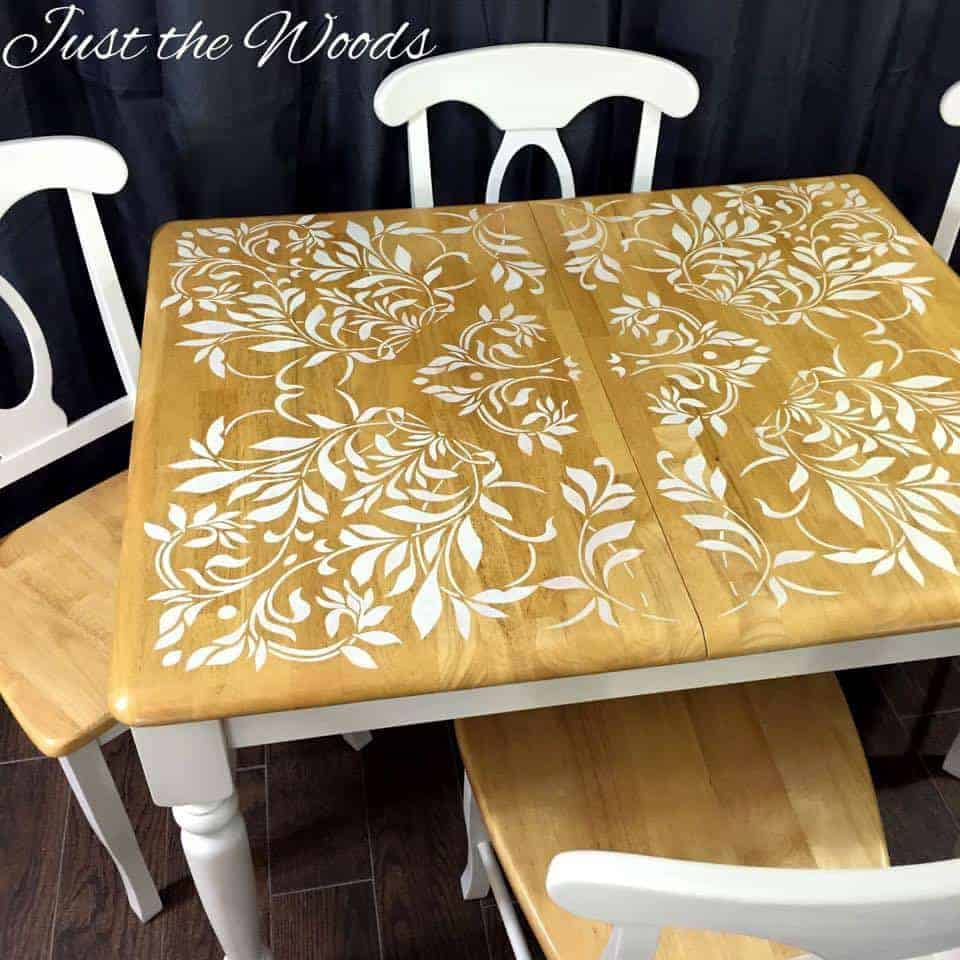 Painted Kitchen Table, stenciled dining table, stenciled dining room table, stenciled table ideas, stencils for furniture