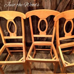 Pine Wood Chairs, dining chairs, stenciled dining room table