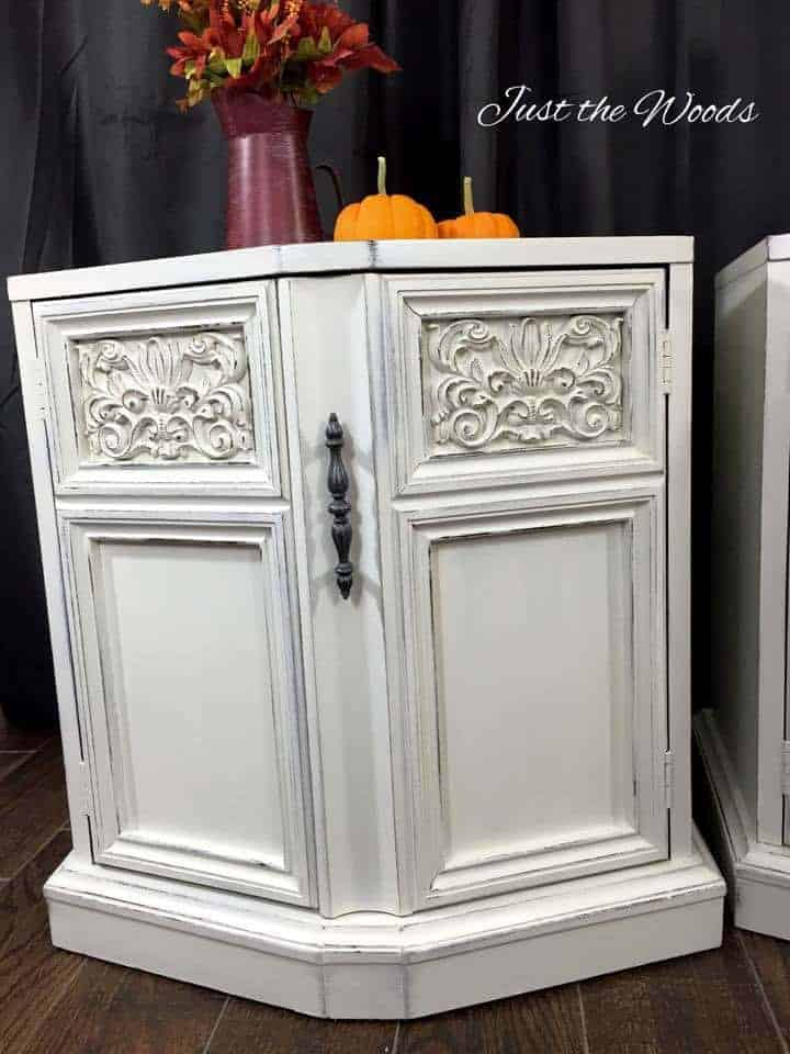 white distressed, chalk paint, painted tables, shabby chic, vintage, ornate, new york, just the woods