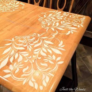 Damask Stencil on Kitchen Table