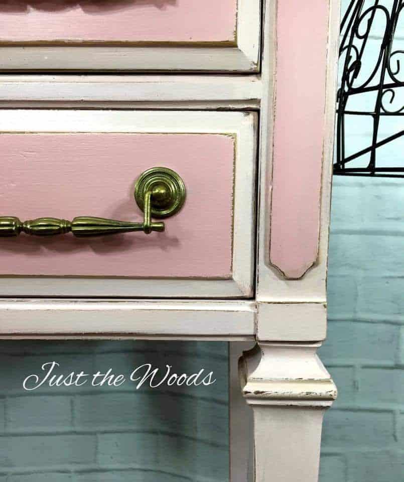 pink vanity, painted vintage vanity
