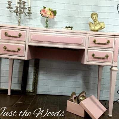 Elegant Painted Vintage Vanity by Just the Woods in Pink and Gold