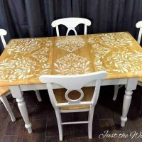Darling Damask Stenciled Dining Room Table