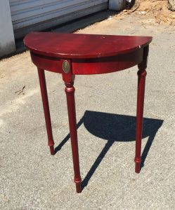 cherry half circle table, accent table, solid wood side table