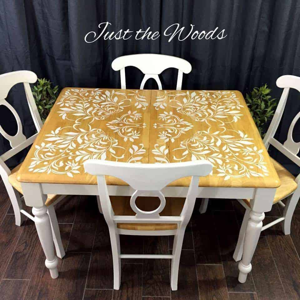 Darling Damask Stenciled Dining Set by Just the Woods