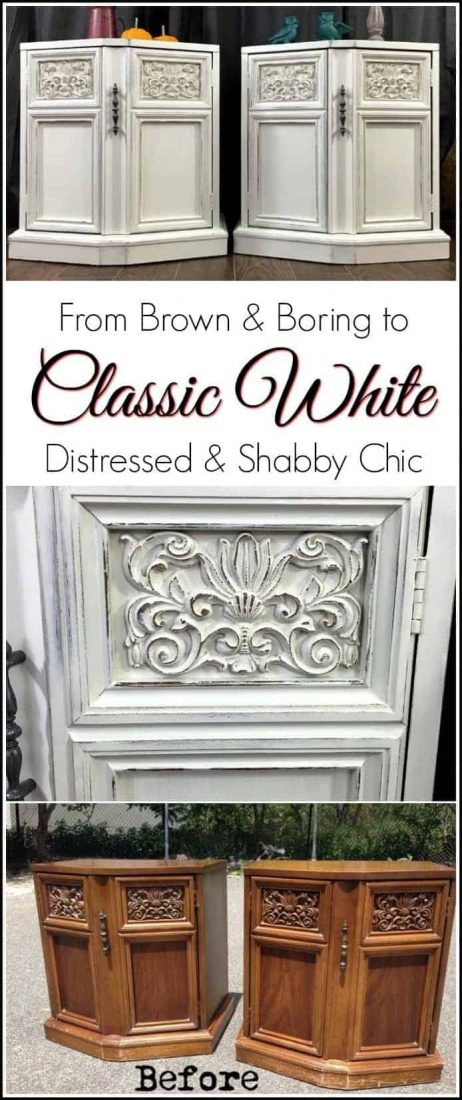 White Distressed Shabby Chic Vintage End Tables. Painted furniture projects vary in style. But you cant go wrong with white shabby chic painted furniture