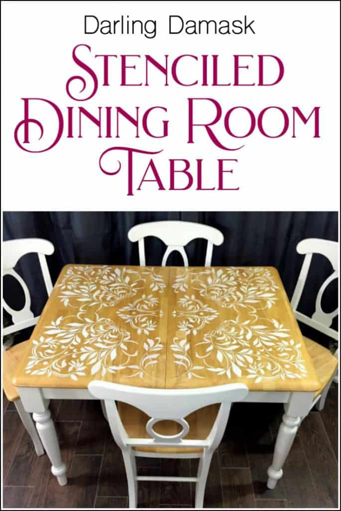 stenciled-table, stenciled dining room table, how to stencil a table top