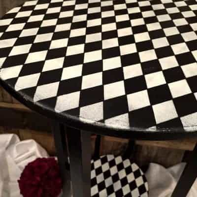 Whimsical Wood Harlequin Painted Table