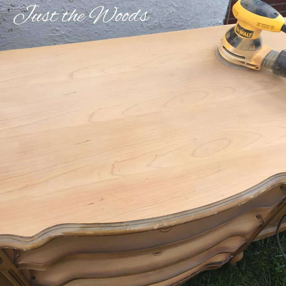 Sanding to bare wood, electric sander, sanding wood furniture, painting furniture