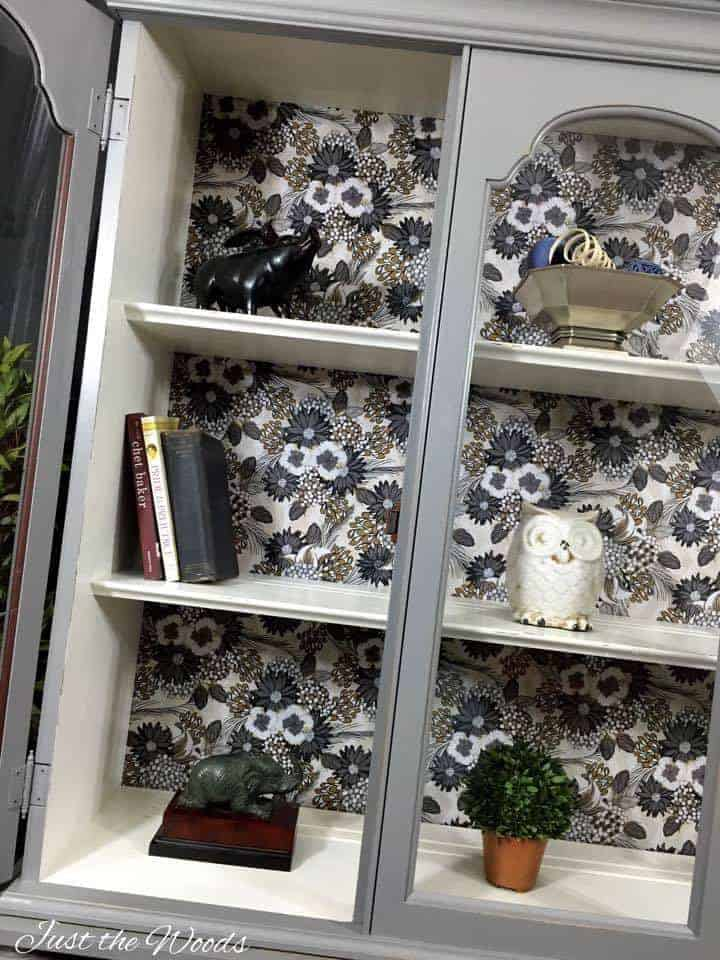 Modern Curio, decoupage, china cabinet, curio, hutch, vintage, nyc, painted furniture