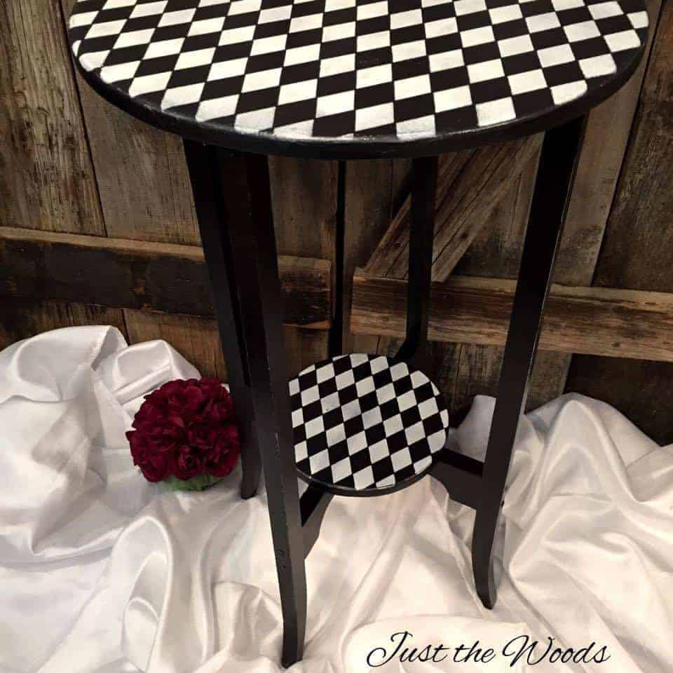 whimsical, wood, harlequin, table, painted, furniture, staten island, nyc, nj, just the woods
