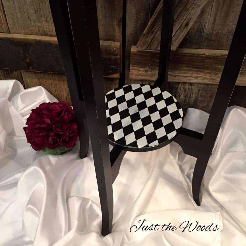whimsical, wood, harlequin, table, painted, furniture, diamond stencil furniture