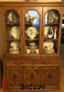 china cabinet turned into a curio cabinet, vintage china cabinet, unfinished china cabinet