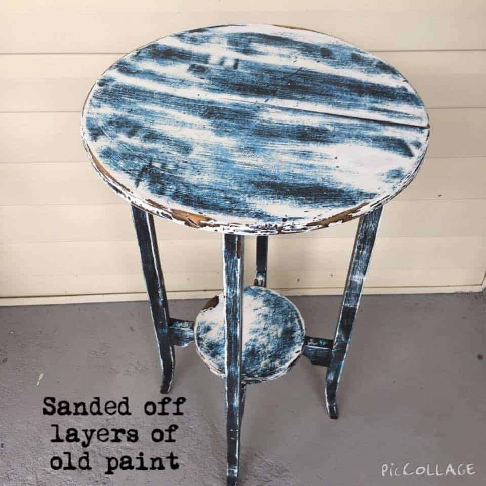 sanding layers of paint, wooden table