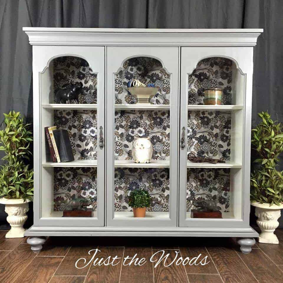 Decoupage China Cabinet Hutch Vintage Furniture Painted