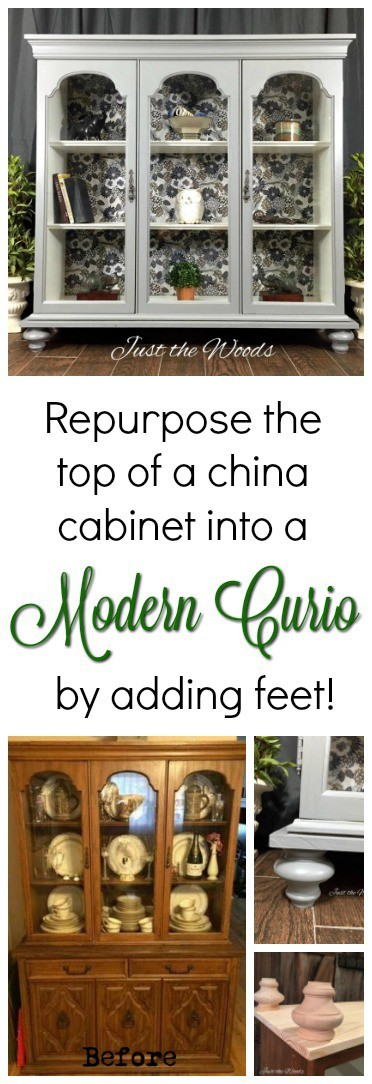 china cabinet to curio cabinet, diy, add feet to furniture, vintage furniture