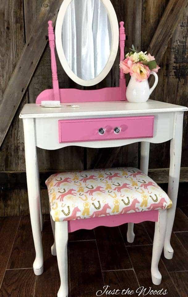 painted vanity, girls vanity, pink vanity, pony fabric, pink pony vanity