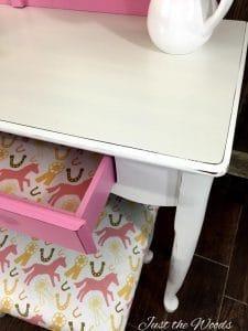 decoupage, pink vanity, girls vanity, staten island, painted furniture, new york, just the woods