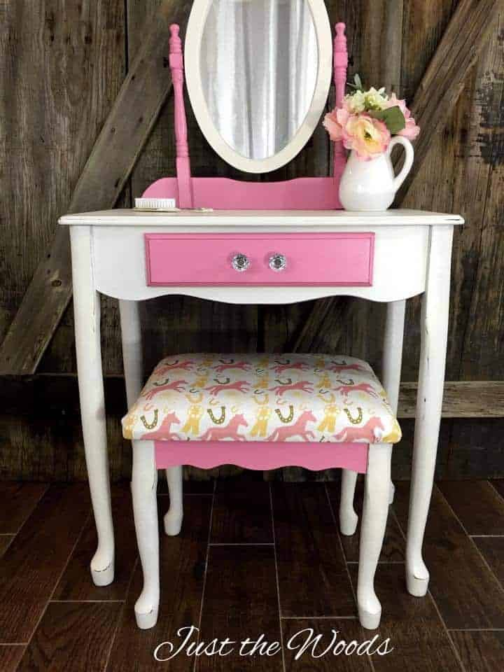 girls vanity, painted vanity, pink and white, chalk paint
