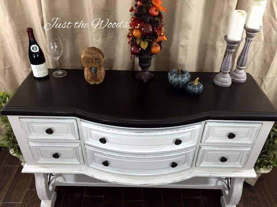 Dark stain top on white buffet