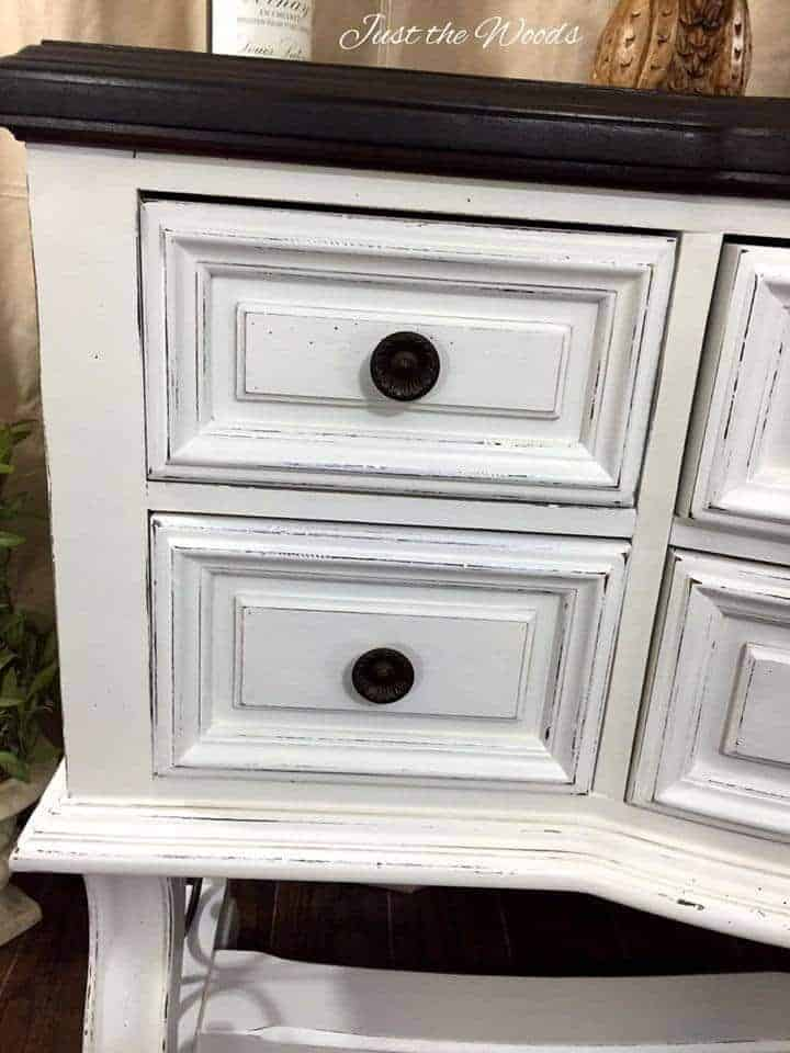 Distressed white painted buffet