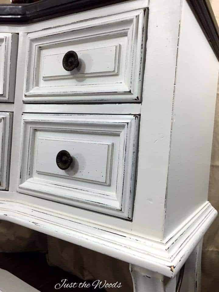 Distressed white painted furniture