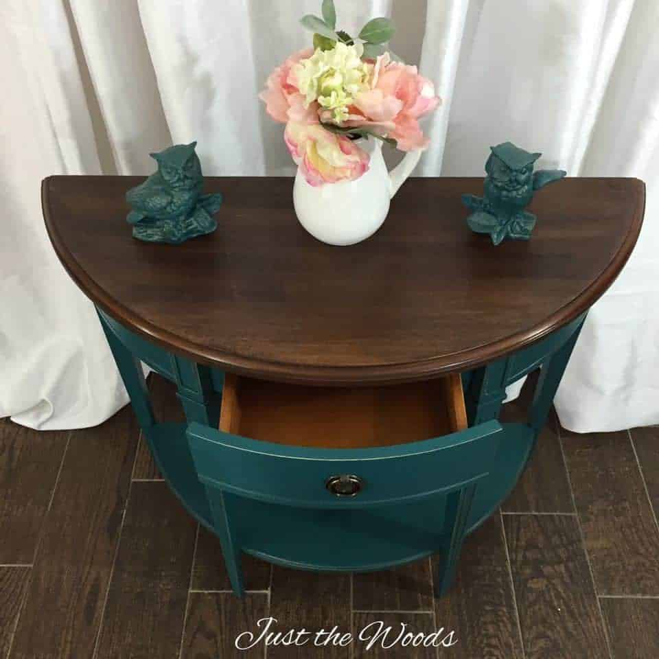 Painted table with stain top