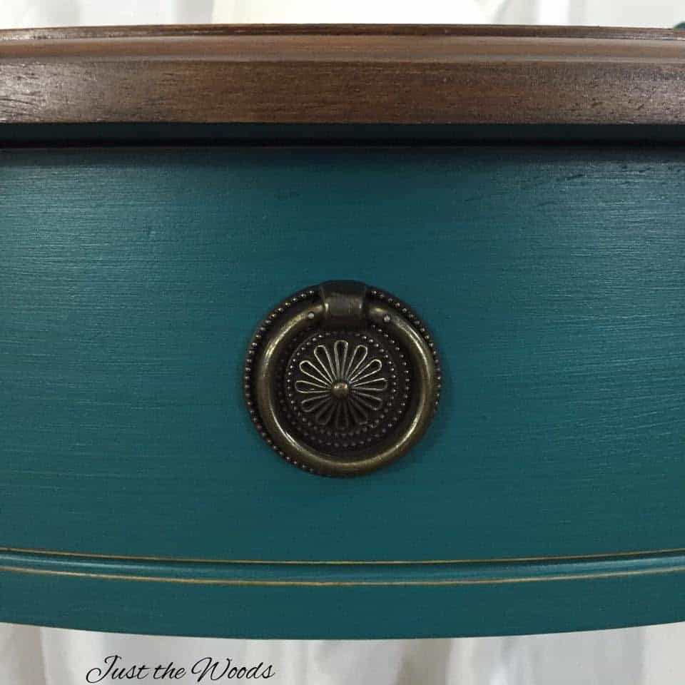 Deep teal painted console table with stain top / Just the Woods