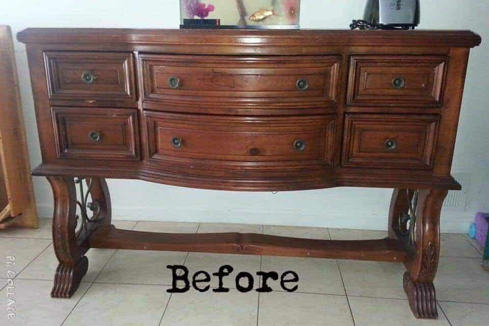brown buffet before paint