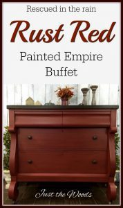 painted empire buffet, red painted buffet, vintage empire