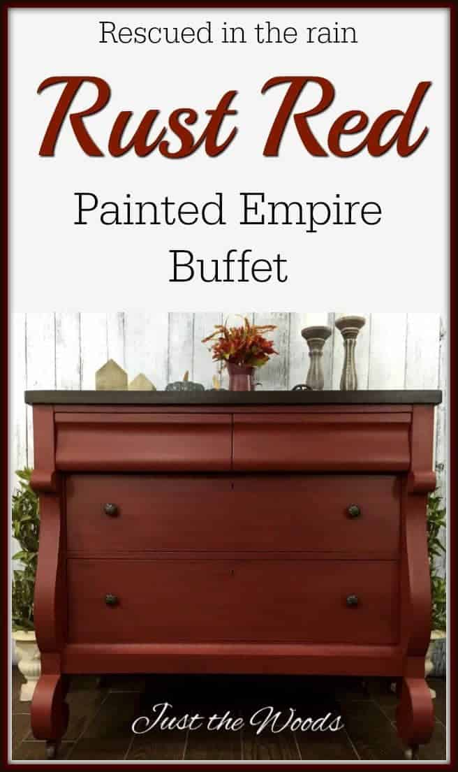 Vintage empire style buffet makeover in custom mixed red rust. Bold red painted furniture with dark stained top